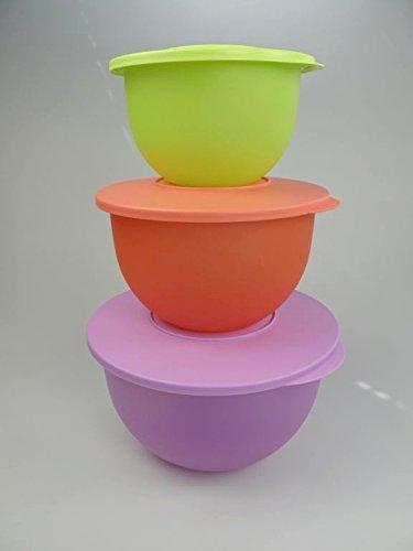 TUPPERWARE Junge Welle 4,3 L lila + 2,5 L pastellorange + 1,3 L limette Schüssel