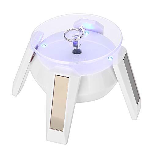 Betued Jewellery Holder rotatie, op zonne-energie werkende 360 graden draaischijf horloge Phone Jewellery display standaard met LED-licht voor sieraden Store showing en Home Decor