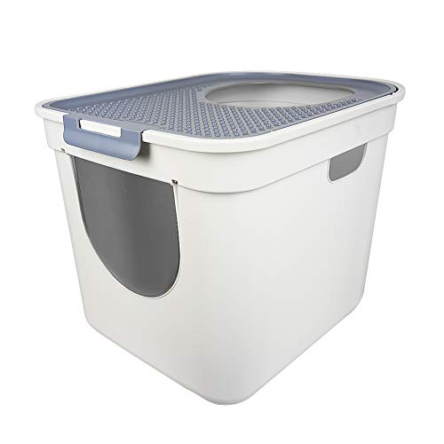 ATDAWN Cat Litter Box, Top Entry or Front Entry Cat Litter Pan with Cat Litter Scoop (L)