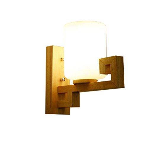M-zmds Moderno simple natural madera maciza lámpara de pared aplique con pantalla de cristal linterna de pared personalidad dormitorio dormitorio sala de estar mesilla de roble sola cabeza luminaria de pared