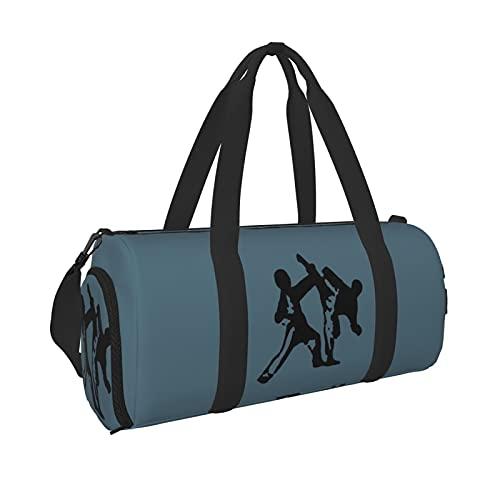 Taekwondo - Borsone da viaggio con tasca bagnata e scomparto per scarpe, da uomo e da donna, Nero , Taglia unica,