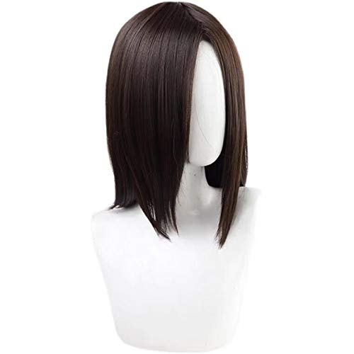 Middle-parted Attack Eren Jaeger Yeager Cosplay Wig Dark Brown for Men...