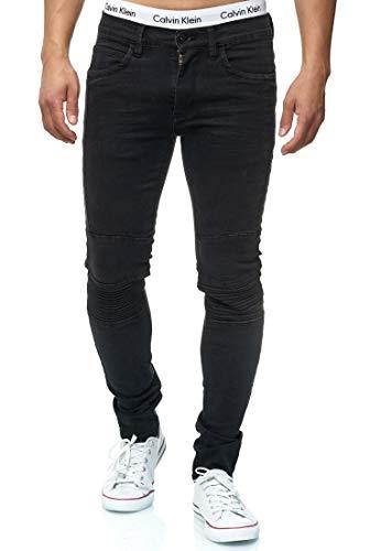 Indicode Caballeros Ashbridge Vaqueros De Mezcla Algodón Porcentaje Elasticidad | Denim Stretch Pantalón Slim Fit Men Pantalones Motero Elásticos para Hombres En Negro W32/L34