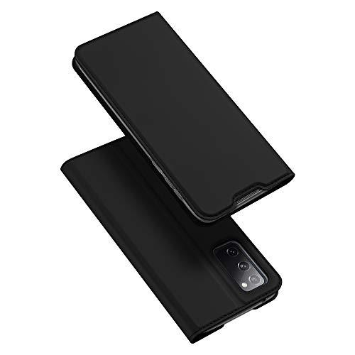 DUX DUCIS Hülle für Samsung Galaxy S20 FE, Leder Klappbar Handyhülle Schutzhülle Tasche Hülle mit [Kartenfach] [Standfunktion] [Magnetisch] für Samsung Galaxy S20 FE (Schwarz)