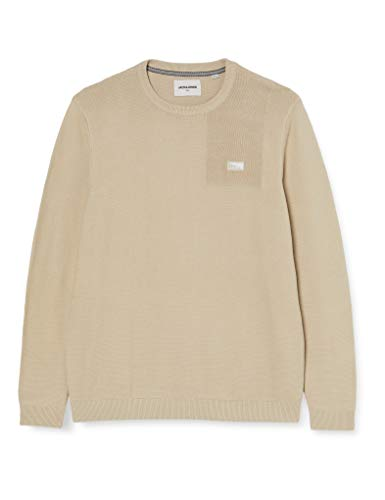 Jack & Jones Mens JCOBRUCE Knit Crew Neck STS Pullover Sweater, Pure Cashmere, 42