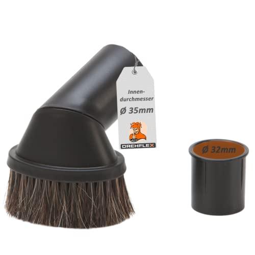 DREHFLEX - Möbelpinsel/Möbelbürste für Staubsauger - passend für die Durchmesser 32/35 mm - mit Naturhaarborsten