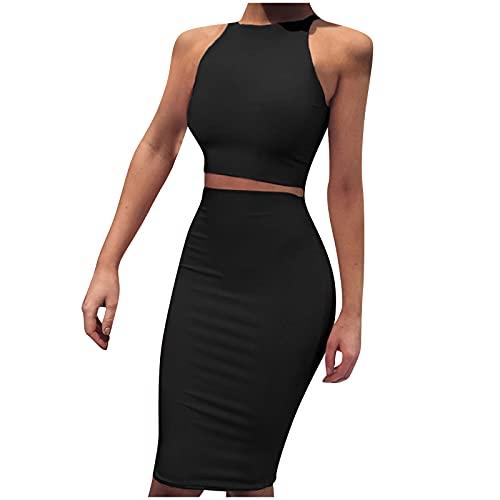 Masrin Damen 2-teiliges Kleid Lässiges einfarbiges Korsett + Enger Rock Ärmelloses Sommer-Etuikleid mit O-Ausschnitt Kurzes figurbetontes Kleid Party Kleid Club-Kleid Cocktailkleid(S,Schwarz)