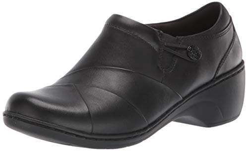 Clarks Women's Channing Ann Shoe, Black Leather with Enamel Button, 11 M US