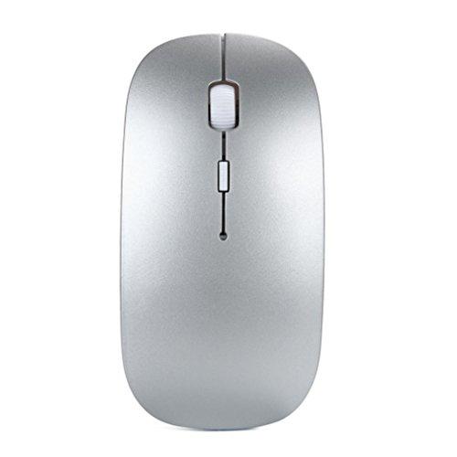 Ratón inalámbrico USB recargable, frenchenal 2,4gHz óptico ratón inalámbrico + receptor para PC portátil Mac plateado plata 12cmX7.5cmX4cm
