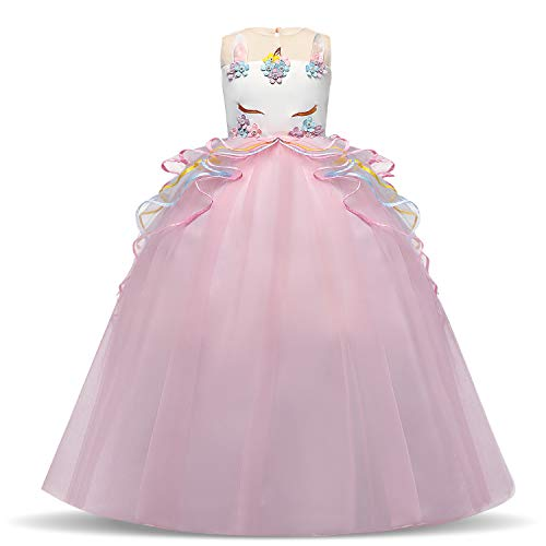 NNJXD Ragazze Unicorn Dress, Applique Halloween Party Costume Operato Dimensione(150) 7-8 Anni Rosa