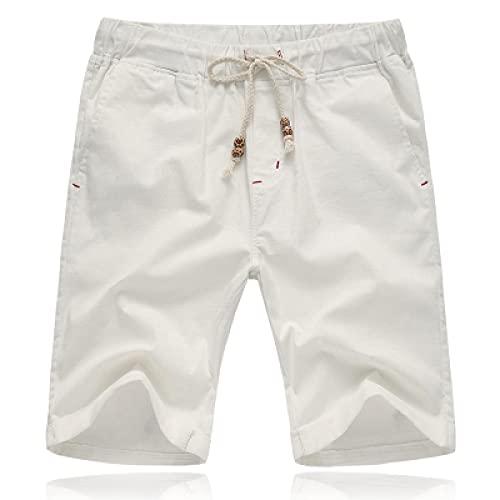 ShSnnwrl Pantalones Cortos de Hombre Men's Casual Shorts Summer Comfortable Linen Beach Shorts Elastic Waist Solid Color Shorts L-5XL