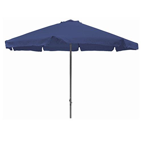 Mojawo XXL Kurbelschirm Gartenschirm Sonnenschirm Aluminium Schirm 8 Rippen Blau Ø4m mit Krempe Polyester