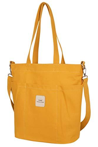 Iswee Canvas Tote Bag Women Shoulder Bag Casual Top Handle Bag Cross-body Handbags (Yellow)