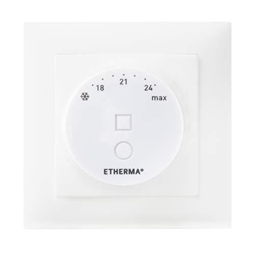 ETHERMA eTWIST Thermostat (Schaltereinbau) mit Drehregler und App-Funktion via Bluetooth 4.2, Farbe: weiß, Temperaturbereich 5-28 °C, 16 A, Maße: 55 x 55 mm, Ökodesign-Richtlinien konform, eTWIST