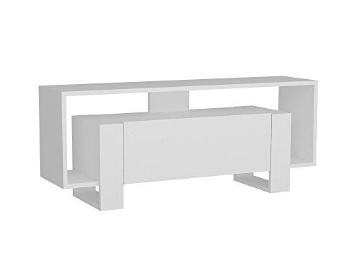 Alphamoebel 3580 Mery TV Board Lowboard Fernsehtisch Fernsehschrank Sideboard Fernseh Schrank Tisch für Wohnzimmer, Holz, Mit Tür Füße, viel Stauraum, 120 x 33,2 x 48,6 cm, Weiß