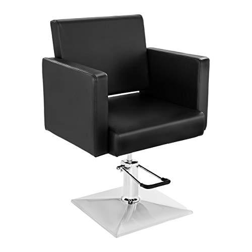 Physa Fauteuil Barbier Coiffure Chaise Coiffeur PHYSA BEDFORD BLACK (Pompe Hydraulique, Hauteur Réglable 45-56 cm, Max 200 Kg, Revêtement PVC, Noir)