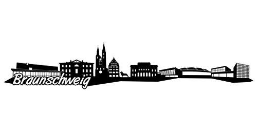 Samunshi® Braunschweig Skyline Aufkleber Sticker Autoaufkleber City Gedruckt in 7 Größen (15x3cm schwarz)