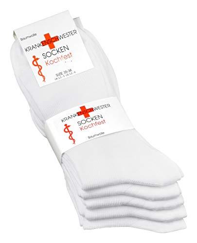 Vincent Creation 5 Paar Original VCA® Damen Krankenschwester Socken weiß aus Baumwolle, Spitze Handgekettelt