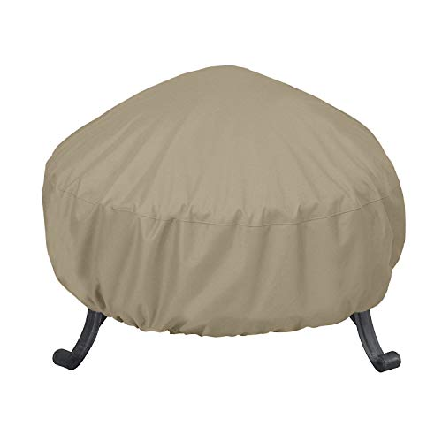 SunPatio Outdoor Fire Pit Cover, Round Fire Bowl Cover, Kettle Ottoman Cover, 32'Dia x 14'H, Water Resistant, Lightweight Furniture Cover with Adjustable Drawstring, Neutral Taupe