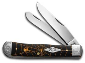 CASE XX Golden Spider Web Black Delrin Trapper 1/500 Stainless Pocket Knife Knives