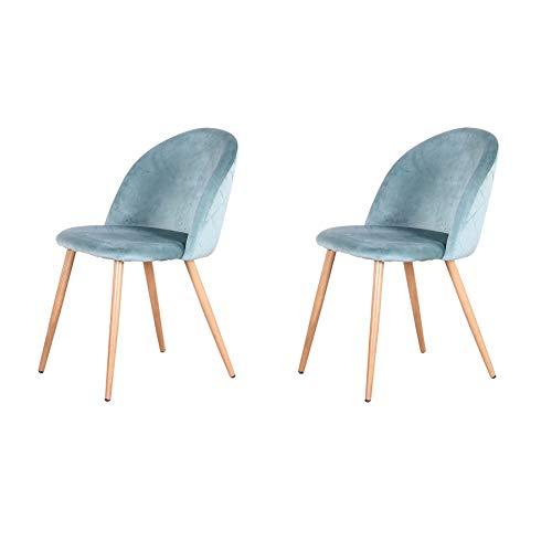 Pack de 2/4/6 sillas de Comedor ,Cojines de Terciopelo Suave Asiento,Sillas de Cocina para Comedor y Sala de Estar (Verde-2)