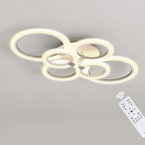 Plafón LED Regulable 40W ANTEN ANSELMO | 3000LM 6 Círculos con Mando a Distancia | Lámpara Colgante Moderna | Acrílico Blanco Diseño artístico | para Salón Dormitorio Comedor Estudio Tienda Pasillo
