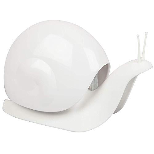 QUALY ESCAR - Dispenser di sapone liquido per il bagno, forma di lumaca, 18 x 11 cm Bianco bianco