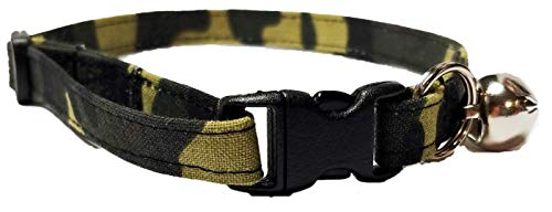 Britches4Stitches Camo Kitten or Cat Collar Army Camouflage Military Adjustable Fabric with Bell Break Away Buckle Large Quick Release (XS- Kitten)
