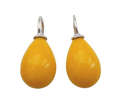 Pendientes colgantes de cristal amarillo sol de plata de ley 925, regalo hecho a mano, diseño moderno de Heide Heinzendorff
