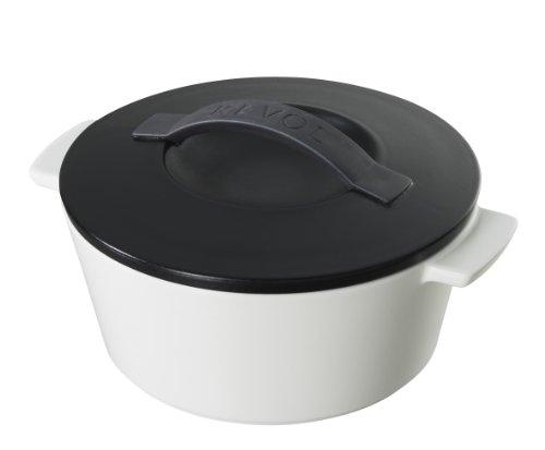 Revol 643867 Coffret Cocotte Rond avec Couvercle Porcelaine Noir Satine 10,7 cm