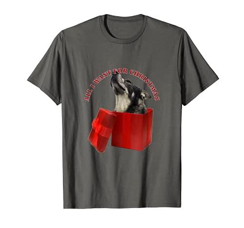 Todo lo que quiero para Navidad Noruego Elkhound Camiseta