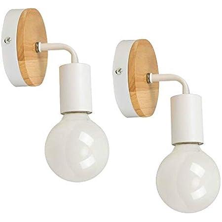 YUENSLIGHTING 2 paquets Lampe murale en fer forgé moderne en bois moderne E27 (sans ampoule)