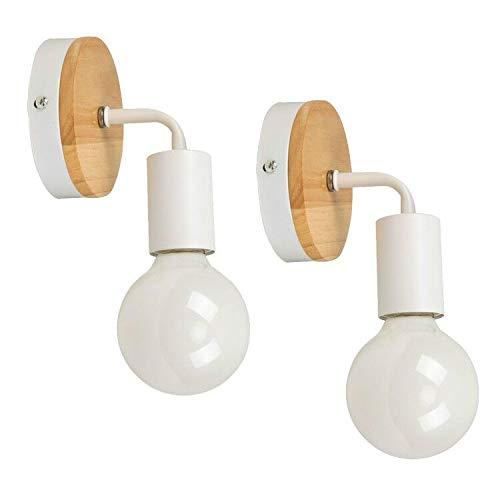 YUENSLIGHTING 2 Pack moderno creativo de madera de época de hierro forjado lámpara de pared E27 de montaje en pared lámpara de cabecera de luz de lectura para la vida del dormitorio (sin bombilla)