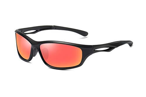 Skevic Polarisierte Sportbrille Sonnenbrille Herren und Damen TR90 Fahrradbrille mit UV400 Schutz - Radbrille für Autofahren Running Skifahren Fischen Radfahren Wandern Golf (Schwarz/Rot)