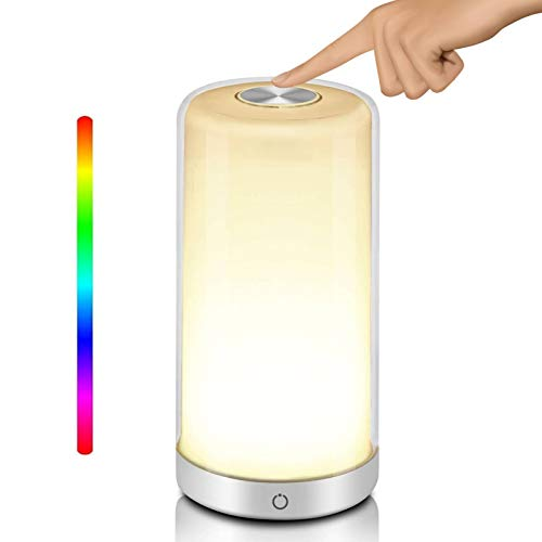 SIMEEGO Table Lamp , with RGB Color Mode, Touch-Sensitive Dimmable Warm White Night Light, LED Touch Control, with Three-Layer Lampshade, Portable Night Light for Living Room and Bedroom