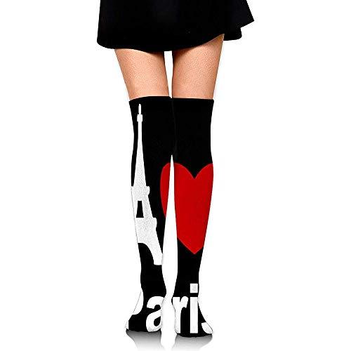 Jesse Tobias I Love Paris 1 Calcetines altos hasta la rodilla opacos para mujer Medias