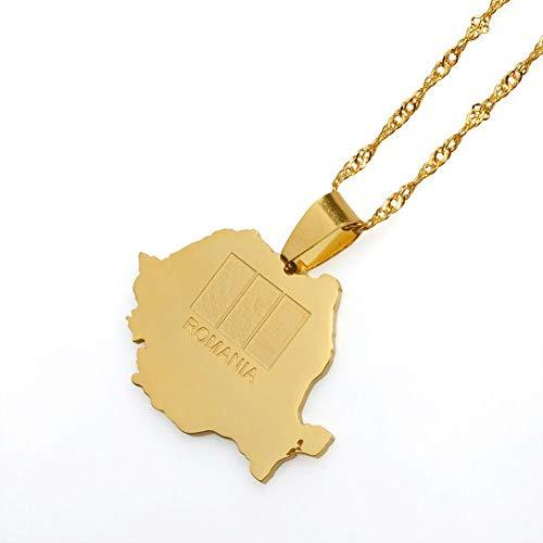 NSXLSCL Halsketten Für Frauen,Mode Rumänien Karte Anhänger & Kette Gold Farbe Trendige Rumänischen Schmuck Giftswomen des Täglichen Lebens Kleidung Accessoires