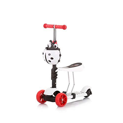 Chipolino Kinderroller, Rutscher Kiddy 2 in 1 Höhe einstellbar 3 Räder mit Licht, Farbe:weiß rot