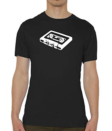 Atprints Cassette Stencil Artwork Hipster Vintage Negro Crew Neck Men's T-Shirt S