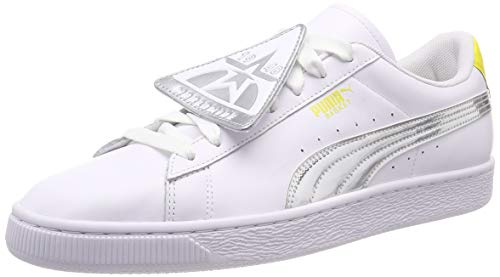 Puma Damen Basket Badge TZ Metallic WN\'s Sneaker, Weiß White-Blazing Yellow, 39 EU