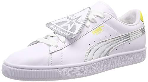 Puma Damen Basket Badge TZ Metallic WN's Sneaker, Weiß White-Blazing Yellow, 39 EU