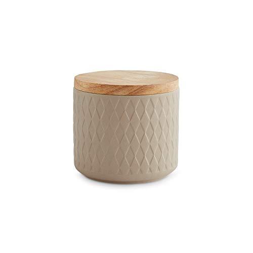 Keramik Vorratsdosen mit Holzdeckel Mint, Kautschukholz-Deckel, Aufbewahrungsdosen, Frischhaltedosen - 1x Sand: 10x9cm