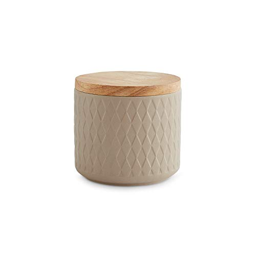 Botes de cerámica con tapa de madera verde, Recipientes de 380 ml a 900 litro de capacidad, Botes de almacenamiento, Botes herméticos - arena 10,1 x 9,3 cm