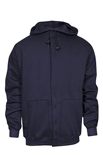 National Safety Apparel C21WT05LG UltraSoft Fleece Hooded Sweatshirt with Plastic Zipper, 88% Cotton, 12% Nylon FR, Large, Navy