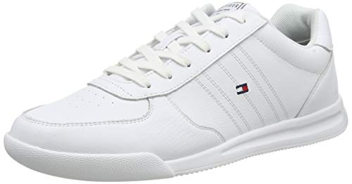 Tommy Hilfiger Herren Lightweight Leather Sneaker, Weiß (White Ybs), 45 EU