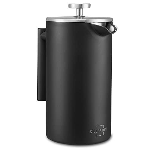 SILBERTHAL French Press Coffee 1 l – Caffettiere a pistone – Caffettiera Francese isolata – Caffettiera a presso-filtro acciaio inox nero