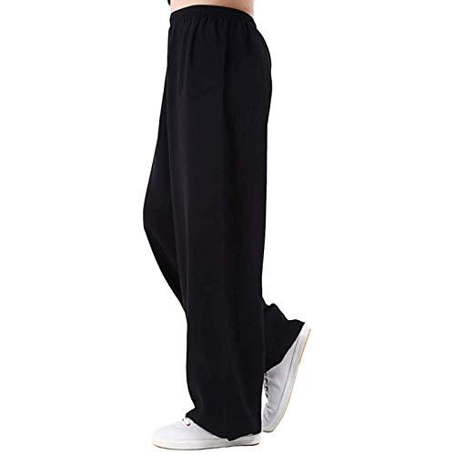 GHJUH Pantalones De Tai Chi Pantalones De Entrenamiento De Kung Fu Pantalones De Artes Marciales Qi Gong Wing Chun Shaolin Algodn Y Lino Transpirable Pantalones De Tai ChiBlack-Medium