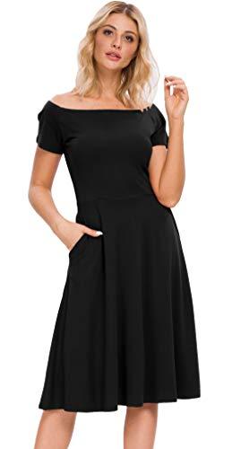 Afibi Womens Off The Shoulder Short Sleeve Cocktail Party Dresses (X-Large, Black)
