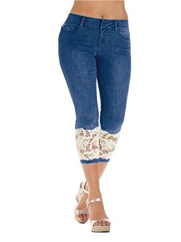 HaiDean Dames Capri Leggings Zomer Eenvoudige Glamoureuze look Jeans Broek Jeggings Effen Kleur Splice Kant met Zakken Knopen 7/8 Broek