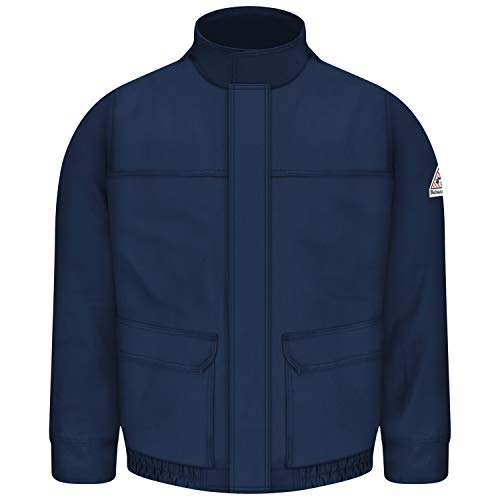 Bulwark Flame Resistant 7 oz Twill Cotton/Nylon ComforTouch Lined Bomber Jacket, Navy, Small